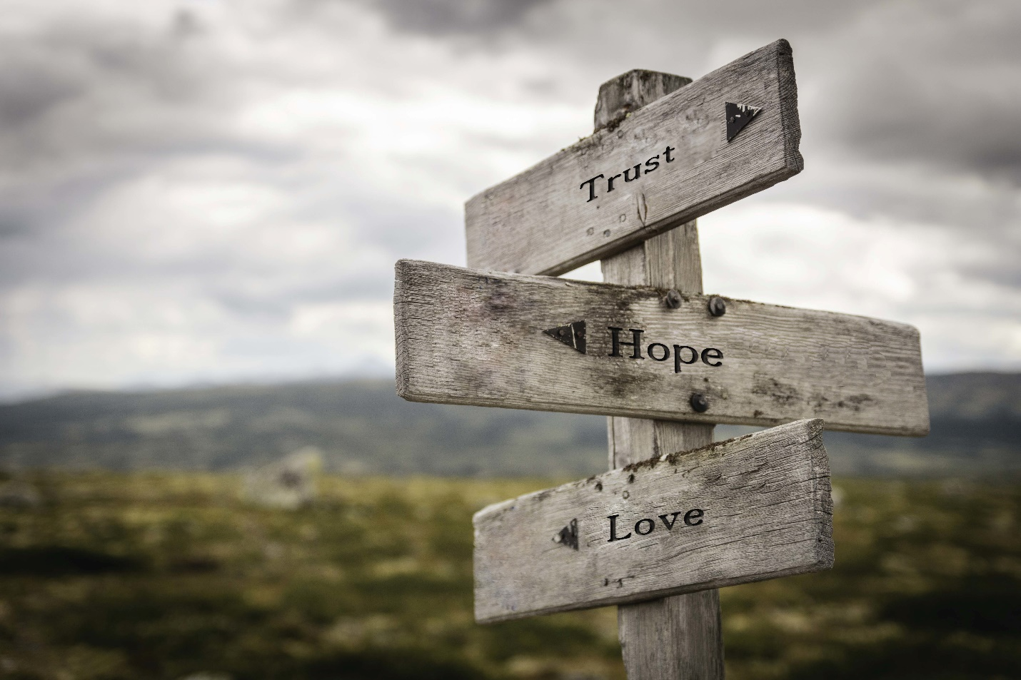 "A fingerpost with the words ""Trust,"" ""Hope,"" and ""Love."""