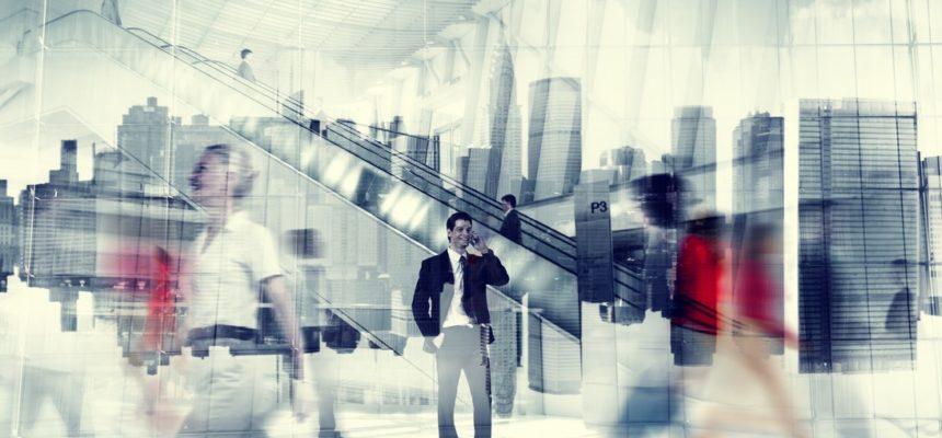 Man Talking On Phone People Walking Concept